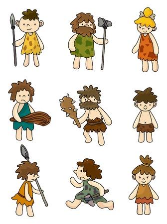 caveman: Cartoon cavern�cola icono conjunto, vector  Vectores