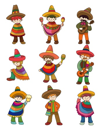mexican cartoon: cartoon Mexican people icon set