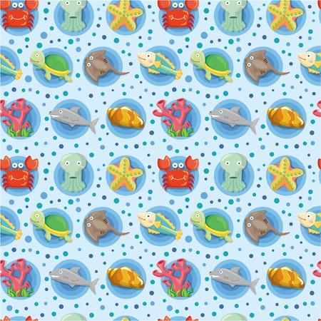 seabed: cartoon animal  pattern seamless