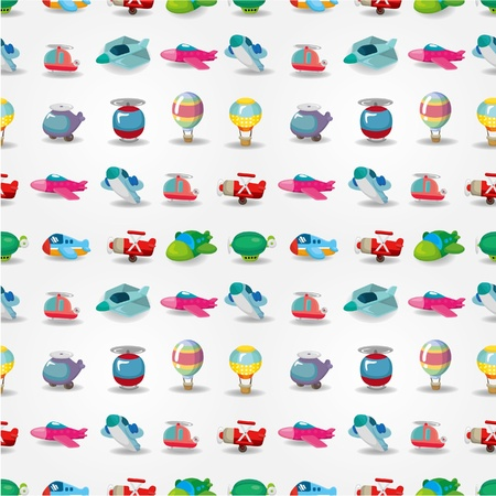 cartoon airplane pattern seamless Vector