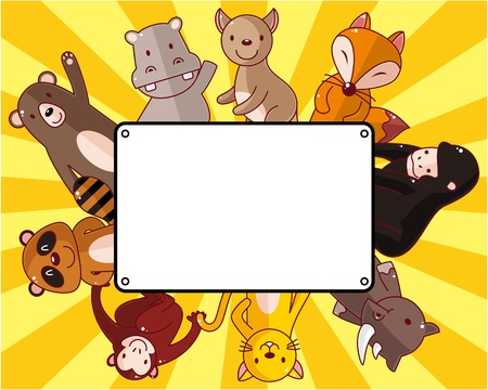 cartoon animal family card Vector