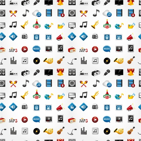 cute music icon seamless pattern  Vector