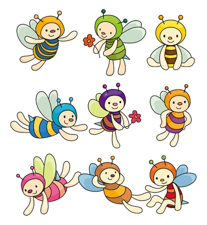 an insect sting: cartoon bee boy icon set