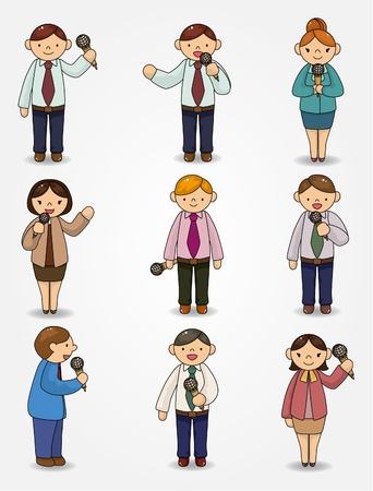 inteligencia emocional: conjunto de empleado de Oficina de caricatura divertido hablar con micr�fono y altavoz  Vectores