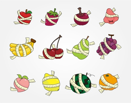 set of fresh fruit and ruler health icon Stock Vector - 10135263