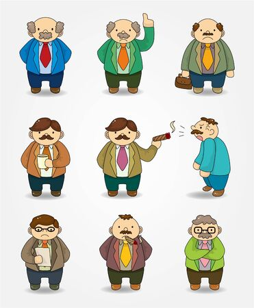 happy client: cartoon boss and Manager icon set  Illustration