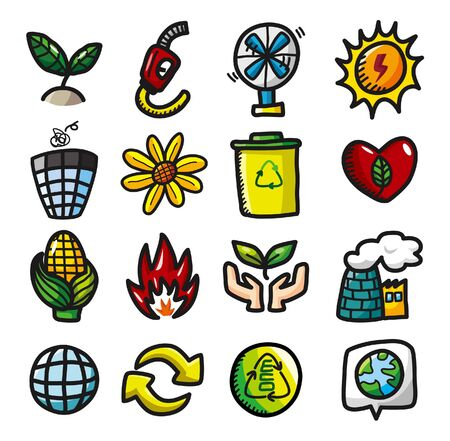 hand draw cartoon eco icons  Vector