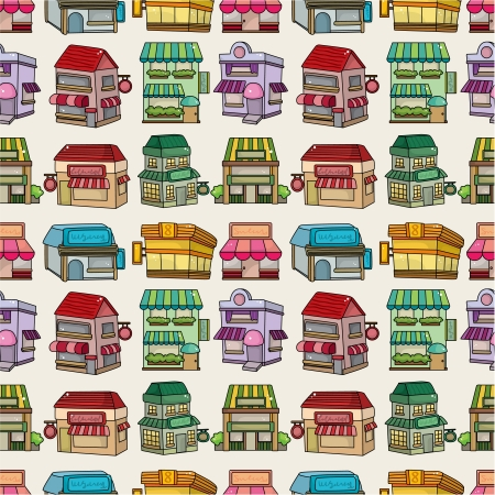 seamless cartoon houseshop pattern Vector