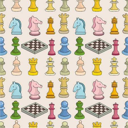king master: cartoon chess seamless pattern