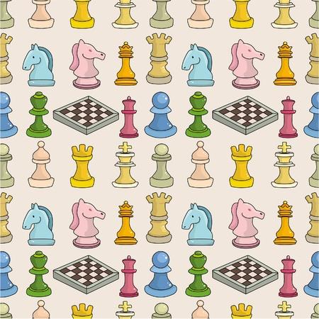 the rook: cartoon chess seamless pattern