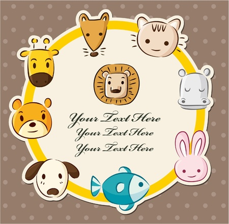 cartoon animal head card Vector