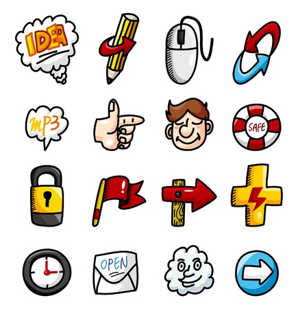 cartoon hand draw web icons collection Vector