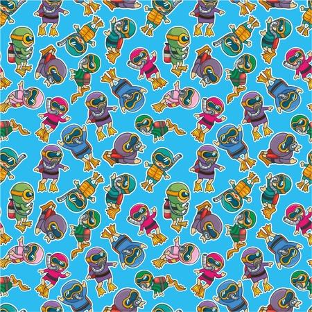 cartoon diver seamless pattern Vector