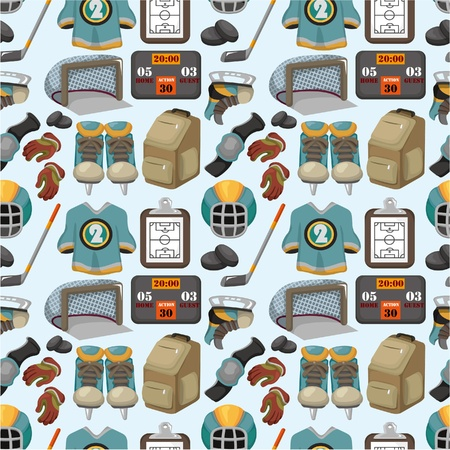 cartoon hockey sport seamless pattern Stock Vector - 10135268