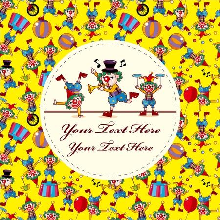 cute cartoon clown card Stock Vector - 10135270