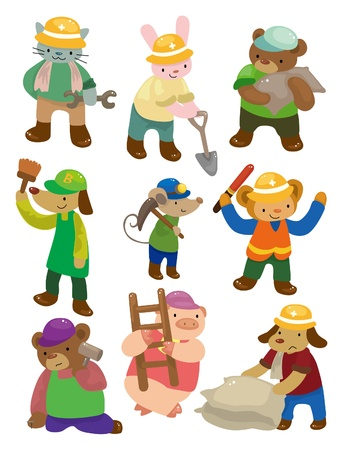 cartoon animal worker icons Vector