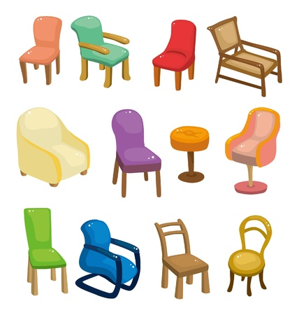 footstool: cartoon chair furniture icon set