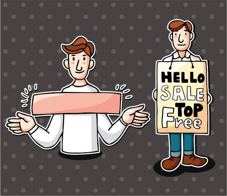 set of man with banner Stock Vector - 10135273