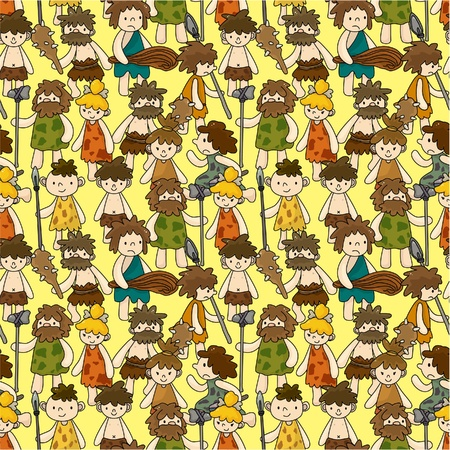 prehistoric animals: cartoon Caveman seamless pattern