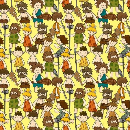 prehistoric human: cartoon Caveman seamless pattern
