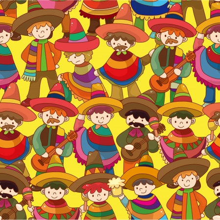 cartoon Mexican people seamless pattern Vector