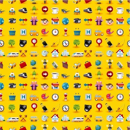 Amarillo Iconos de viajes patrón transparente