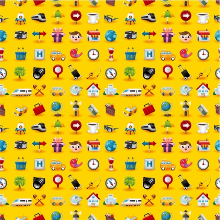 Yellow  Travel Icons Seamless Pattern Vector