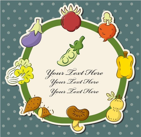 cartoon health fruit and vegetable card Vector