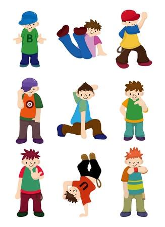 dance hip hop: chico de hip-hop de caricatura bailando conjunto de iconos