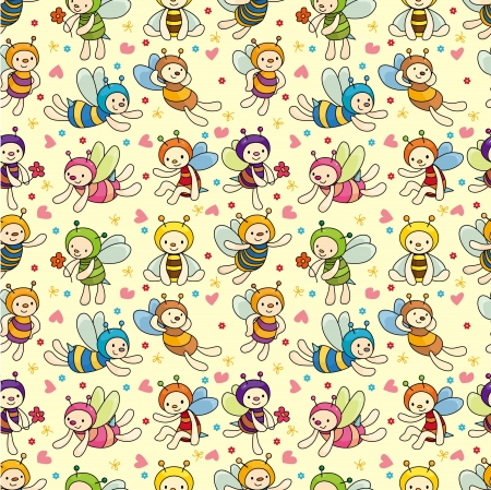 an insect sting: cartoon bee boy seamless pattern