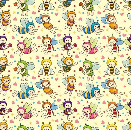 abeja caricatura: patr�n transparente de Cartoon bee boy  Vectores