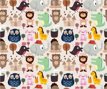 cartoon animal seamless pattern Vector