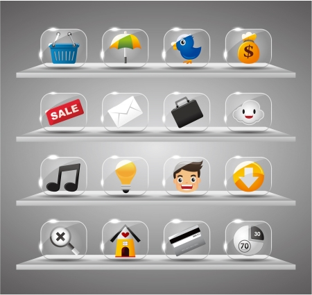 luster: Website Internet Icons ,Transparent Glass Button Illustration