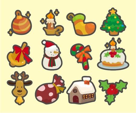 cute cartoon Christmas element icons Vector