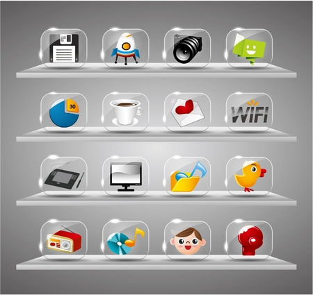 Website Internet Icons ,Transparent Glass Button Stock Vector - 10178793