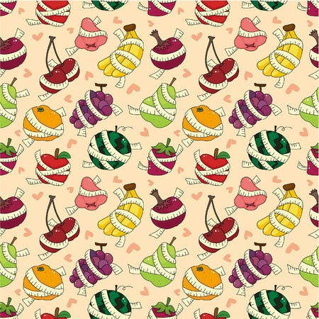 fresh fruit and ruler health seamless pattern  Vector
