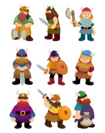 barbarian: cartoon Viking Pirate icon set
