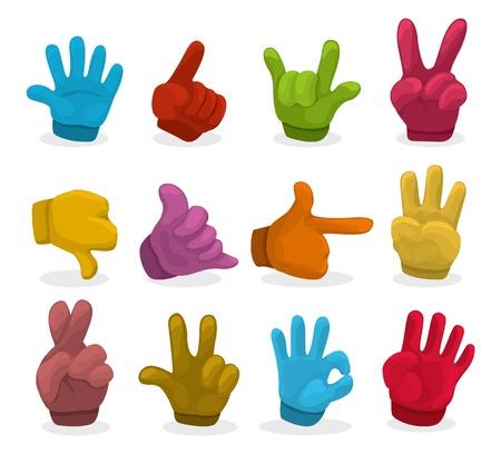 montrer du doigt: La couleur de bande dessin�e mains collection, vecteur