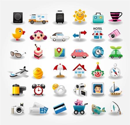 foto carnet: Colecci�n de iconos s�mbolo de viaje. Ilustraci�n vectorial
