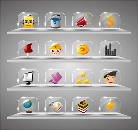 worker cartoon: Sitio web iconos de Internet, botón de cristal transparente Vectores