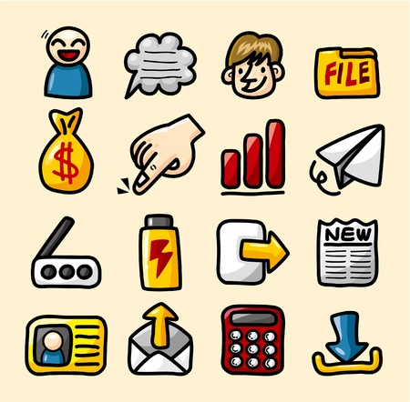 hand with a bag of money: hand draw web icons collection