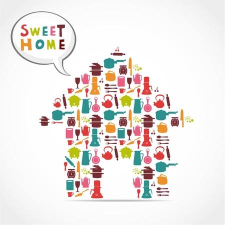 sweet home: tarjeta casa dulce  Vectores