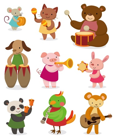 pandero: animal de dibujos animados interpretando música Vectores