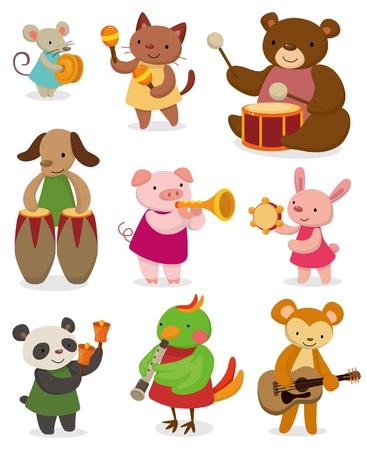 tambourine: animale fumetto, suonare musica