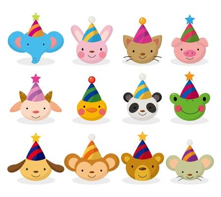 cartoon party animal head icon set Vector