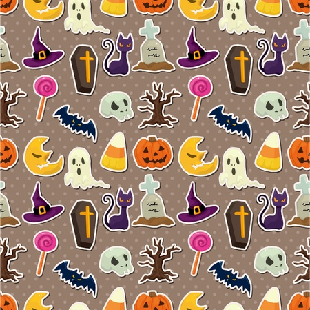 gruselig: Cartoon Halloween seamless pattern Illustration
