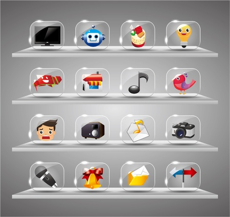 luster: Website Internet Icons ,Transparent Glass Button