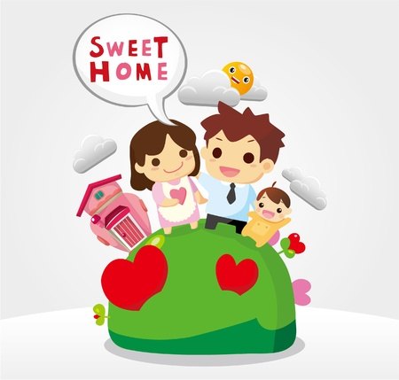 sweet home, family card Vector
