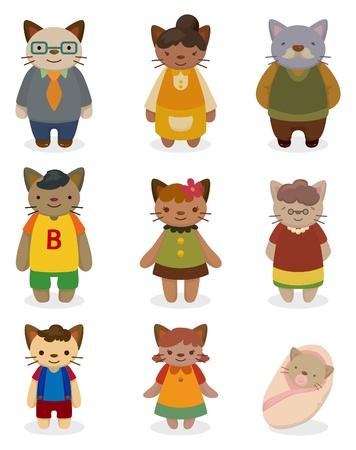 만화 고양이 가족 아이콘 세트