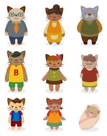 cartoon cat family icon set  Vector